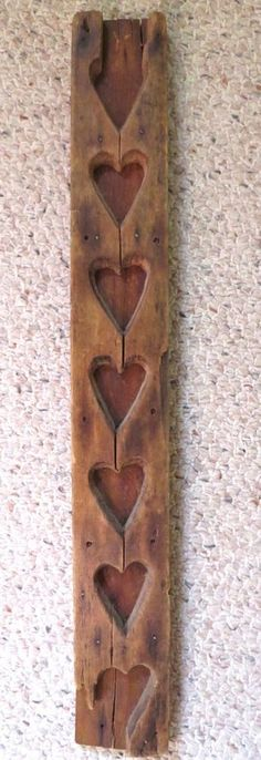 Antique Primitive 19th C Wood Maple Sugar Candy Hearts Mold
