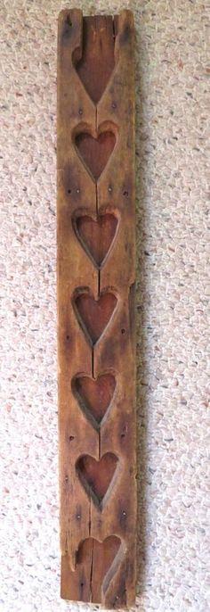 Antique Primitive 19th C Wood Maple Sugar Candy Hearts Mold