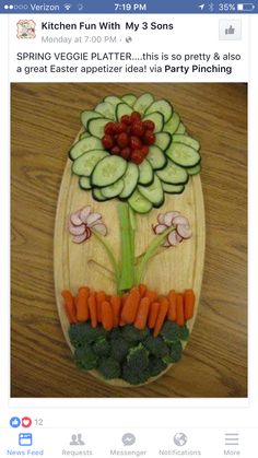 Easter Spring Veggie platter, flower vegetable platter, Best Easter food and craft ideas, food veggies Veggie Platters, Veggie Tray, Veggie Display, Vegetable Trays, Veggie Food, Vegetable Design, Veggie Snacks, Vegetable Salad, Cute Food