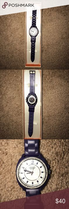 Coach Purple Watch Purple Coach watch with rubber bands. There are crystal details around the face! Brand New, never worn! Comes with box and original tags! No trades, reasonable offers. Coach Jewelry