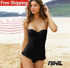 2014 new fashion sexy brazilian bathing suits vintage biquini women's retro swimsuits black push up swimwear one piece Bikini-in Bikinis Set...