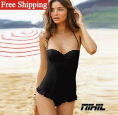 2014 new fashion sexy brazilian bathing suits vintage biquini women's retro swimsuits black push up swimwear one piece Bikini-in Bikinis Set...