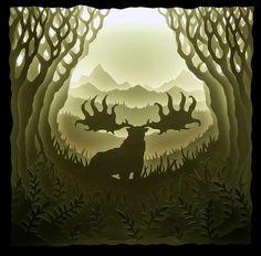 Megaloceros Giganteus hand-cut paper shadowbox art - Album on Imgur