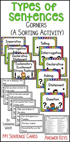 Do your students need practice identifying types of sentences? This activity provides practice with declarative, interrogative, exclamatory, and imperative sentences. It's a sorting activity that gets your students moving while identifying the four types of sentences! If they're not ready for all four, use the types that you have taught. Click to see more!