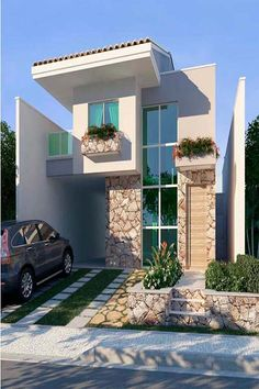 Our Top 10 Modern house designs – Modern Home Two Story House Design, Small House Design, Modern House Design, Modern House Plans, Facade House, Bungalows, House Goals, Home Fashion, Exterior Design