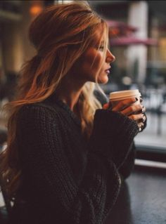 love this~the chunky sweater, the hair oh and the cup of jo looks good too!