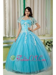 Cheap Aqua Ball Gown 15 Quinceanera Dress Sweetheart Tulle Appliques Floor-length  http://www.fashionos.com  | sweetheart quinceanera dress with appliques | graceful quinceanera gown for formal | tulle quinceanera dress for sweet15 | fittted quinceanera dress with floor length skirt | fashionable quinceanera dress with high end |