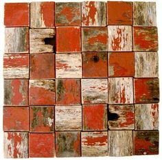 """""""old red paint wall design"""" ~ at 'barnwood naturals reclaimed vintage wood' ❀ ~ ◊ photo via barnwood naturals website. I love the simplicity of the design! Reclaimed Wood Projects, Reclaimed Barn Wood, Art Populaire, Assemblage Art, Red Paint, New Wall, Wood Design, Wabi Sabi, Vintage Wood"""