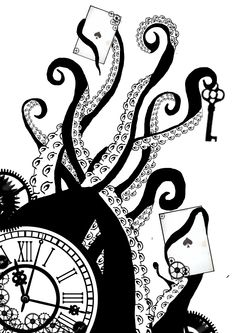 steampunk clock drawing - Google Search