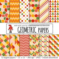 "Digital paper ""GEOMETRIC PATTERNS"" in colors green, peach, yellow and coral with pretty patterns (518)"