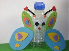 Animate y haz un bote para lápices original con una botella de plástico reciclada. Ésta tiene forma de mariposa pero la puedes convertir en el animal que más le guste a tus hijos.