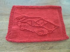So cute for racers!  Hand Knit Raging Red Racecar Dishcloth or Washcloth