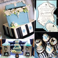 """""""When you have a gorgeous and glamorous friend named Tiffany who just so happens to be expecting a baby boy, hosting a 'Breakfast With Tiffany' baby shower is a no-brainer,"""" says Jen Carver, the party guru behind Banner Events.  To make her vision come to life, Jen recruited some of the best party minds in the business, including 4 Kids Cakes, which provided a beautiful, totally impressive flower-box-esque creation. A breakfast-food buffet, a cute diaper cake, and so much more made this one…"""