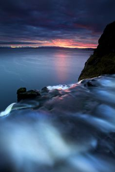 On the Edge - A waterfall drops into the sea on the Isle of Skye Scotland Skye Scotland, England And Scotland, Oh The Places You'll Go, Places To Visit, Earth Photos, Nature Images, British Isles, Landscape Photos, Belle Photo
