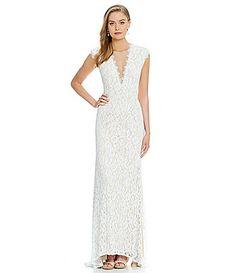 Aidan Aidan Mattox Tonal FloralLace Cutout Gown #Dillards