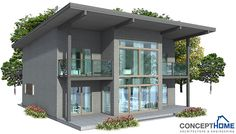 Small Modern House Plan with small building area. Balconies on the second floor. House Plan CH62 - 2F/169M/4B