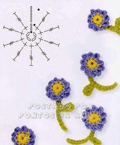Algumas flores de crochê para aplicação