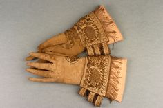pair of white stained cream doeskin leather gloves, circa 1600 – Antique Clothing, Historical Clothing, Leather Gloves, Leather And Lace, Brown Aesthetic, White Stain, Mitten Gloves, Mittens, Fashion History