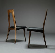 Ernst Martin Dettinger; Walnut and Rosewood Dining Chairs for DeWe Deutsche Werkstätten, 1960s.