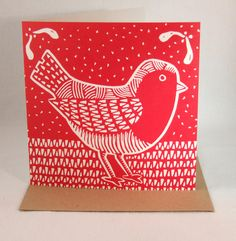 Linocut Christmas card, red robin £3.00 from InkyPrints-Originals