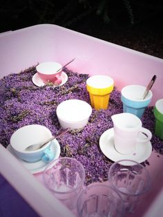Sensory lavender rice ~ early years outdoor play training Eyfs Classroom, Outdoor Classroom, Classroom Ideas, Sensory Tubs, Sensory Play, Sensory Diet, Play Based Learning, Early Learning, Outdoor Learning