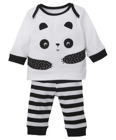 Mothercare Unisex Black and White Panda Pyjamas