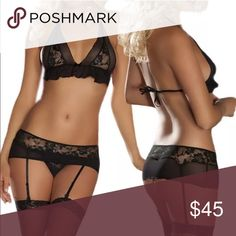 ✨Just in! Black Lace Bikini Top + skirt + garters ✨Just in! Black Lace Bikini Top + skirt with garters✨OSFM✨Best fits size 0-6, 32-36 bust✨Thong panties free! ✨Stockings not included✨Brand new boutique item✨ Intimates & Sleepwear