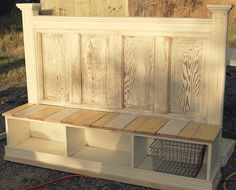 Wood Profits - Twig: Bench From a Repurposed Door Headboard. If nothing else I like how they turned the door into a headboard. - Discover How You Can Start A Woodworking Business From Home Easily in 7 Days With NO Capital Needed! Old Door Projects, Furniture Projects, Furniture Makeover, Home Projects, Diy Furniture, Bedroom Furniture, Refurbishing Furniture, Furniture Design, Furniture Making