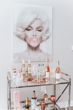 Chic Rosé Bart Cart Marilyn Monroe Bubble Gum Bar Cart Styling Cabana Service Home Decor Rosé & White Cart Cart Blondie in the City by Hayley Larue Home Bar Decor, Bar Cart Decor, Retro Home Decor, Cheap Home Decor, Ikea Bar Cart, White Home Decor, 1950s Decor, Sconces Living Room, Living Room Decor