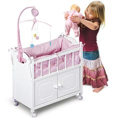 Doll Crib With Cabinet, Bedding, And Mobile