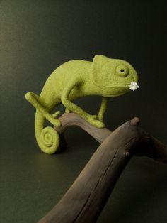 Green Chameleon - Needle Felted Miniature on etsy