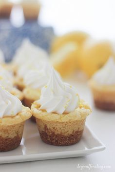 These Lemon Cream Pie Cookie Cups will knock your socks off. Full of lemon flavor, these cookie cups have an easy lemon mousse filling and topped with Fresh Whipped Cream.
