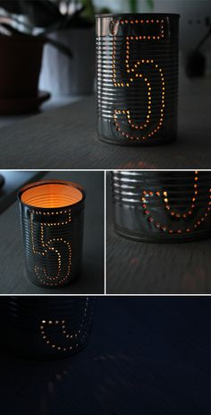 Use old cans to make a cool table number for your wedding. Perfect for rustic weddings. #WeddingLights #DIYLighting