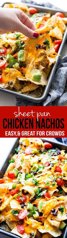 We made these for our Super Bowl Party and they were gone so fast! Sheet pan chicken nachos are flavorful, easy, and feed a crowd.