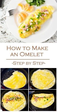How to Make an Omelet - Fox Valley Foodie RecipesHow to Make an Omelet - Breakfast Recipe Step by Step via Egg Omelette Recipe, Ham And Cheese Omelette, Breakfast Omelette, Breakfast Dishes, Breakfast Recipes, Healthy Omelette, Veggie Omelette, French Omelette, Omelettes