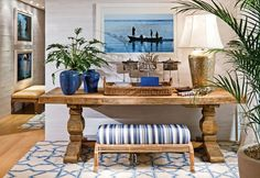 Awesome 8 Fascinating Mediterranean Entryway Table Ideas to Amaze Your Guests As an entryway area, Perl needs to get a touch to look attractive through the application of various style ideas. Although not all homes have access, . Coastal Living, Coastal Decor, Estilo Navy, Beach Houses For Rent, Estilo Tropical, Decoration, Entryway Tables, Sweet Home, Room Decor
