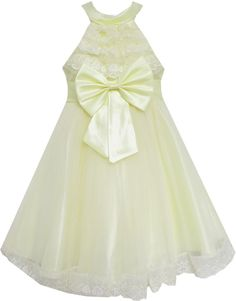 Girls Dress A-line Round Collar Bow Tie Pleated Bodice Yellow Size 5-12 Years