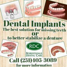 Tired of an ill fitting denture? Have a missing tooth? Dental Implants are great solution for both problems and more. Call Today to schedule your consultation! - http://ift.tt/1HQJd81