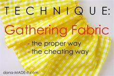 Gathering fabric.