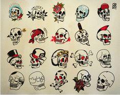 American Traditional Tattoo Skulls Flash Sheet #americantraditional #skullart #flashsteet #tattooart #tattooartist #tampatattoo #tampa Traditional Tattoo Outline, Traditional Tattoo Flash Sheets, Small Traditional Tattoo, Traditional Tattoo Inspiration, Traditional Tattoo Old School, Traditional Tattoo Sleeve Filler, American Traditional Tattoos, Traditional Tattoo Drawings, Traditional Flash