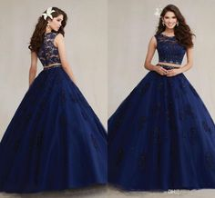 Give yourself the best gift for your adult ceremony -navy blue sleeveless two pieces quinceanera dresses 2017 crystal beaded lace appliques organza sweet 16 ball gowns quinceanera gowns in hot-wind. And plus size formal dresses,backless dresses and ball dresses are offered cheaply in price.