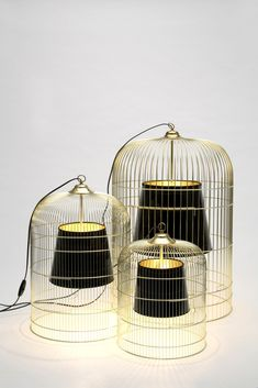 Table lamp from birdcage and lampshade #Birdcage, #Lamp