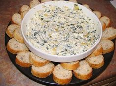 """Artichoke Spinach Dip from Olive Garden. """"Probably my most requested dish to bring to a pot luck, always a hit & really easy to make. Dip Recipes, Copycat Recipes, Appetizer Recipes, Great Recipes, Cooking Recipes, Favorite Recipes, Healthy Recipes, Chicken Recipes, Yummy Recipes"""