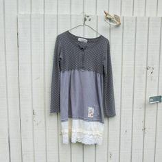 grey dress, fashion, slip and lace, upcycled clothing / tshirt dress  / by CreoleSha, $67.99