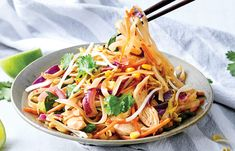 Our Pad Thai with a healthy twist is sure to be your next favourite dinner recipe. Dairy- free and low sugar, serve with a squeeze of lime for a tasty dinner. Easy Thai Recipes, Dinner Recipes, Healthy Recipes, Weekly Recipes, Healthy Food, Healthy Pad Thai, Simple Muffin Recipe, Slider Recipes, Exotic Food