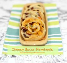 Cheesy Bacon Pinwheels & SRS from: Michelle's Tasty Creations Surprise Recipe, Pinwheel Cookies, Tasty, Yummy Food, Yummy Appetizers, Pinwheels, Hot Dog Buns, Bacon, Cooking Recipes