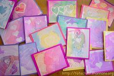 watercolor resist valentines