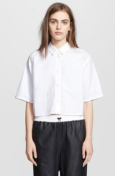 T by Alexander Wang Cotton Poplin Crop Shirt available at #Nordstrom