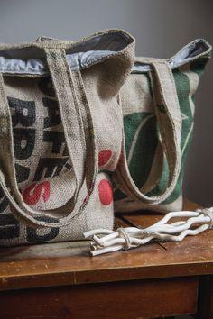 Coffee sack tote bags