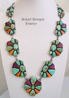 Paul Livingston native American Southwestern collectible turquoise large cluster necklace set
